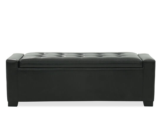 "Tufted Contemporary 54"" Storage Bench in Black"