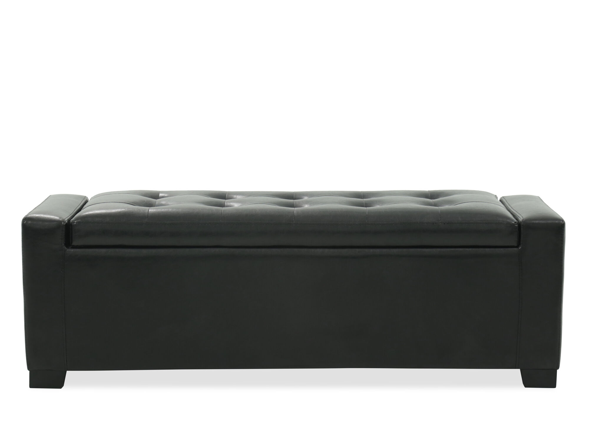 Tufted Contemporary 54u0026quot; Storage Bench In Black