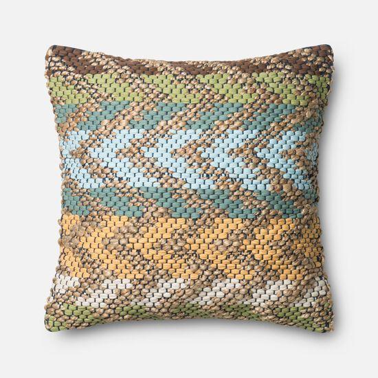 "Contemporary 22""x22"" Cover w/down pillow in Green/Multi"