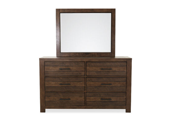 Two-Piece Six-Drawer Industrial Dresser and Mirror in Dark Brown