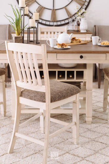 "Rake-Back Solid Wood 42"" Bar Stool in Antique White"