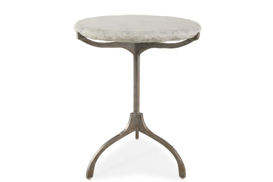 Round Transitional Chairside Table in Silver