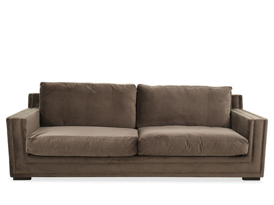 Contemporary Nailhead-Trimmed Sofa in Brown