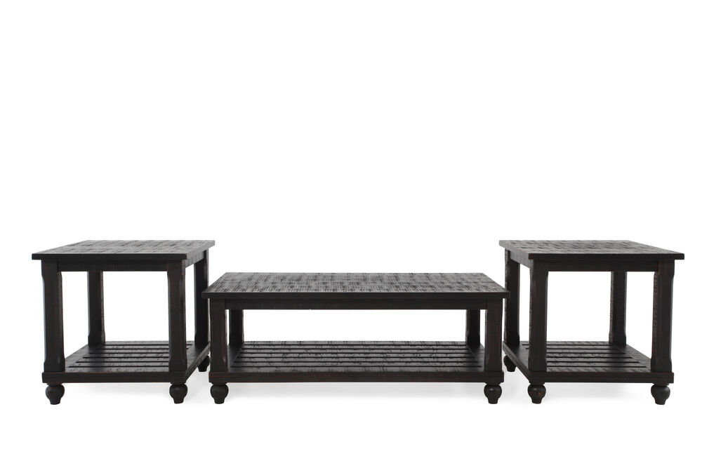 Three-Piece Contemporary Cocktail Table Set in Black