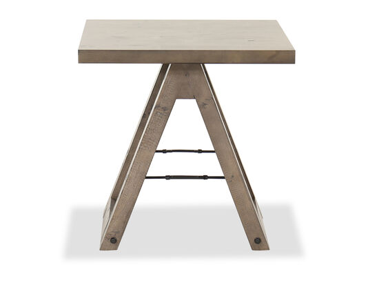 Contemporary End Table in Weathered Gray Pine