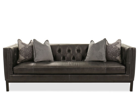 Nailhead Accented Leather Sofa In Slate