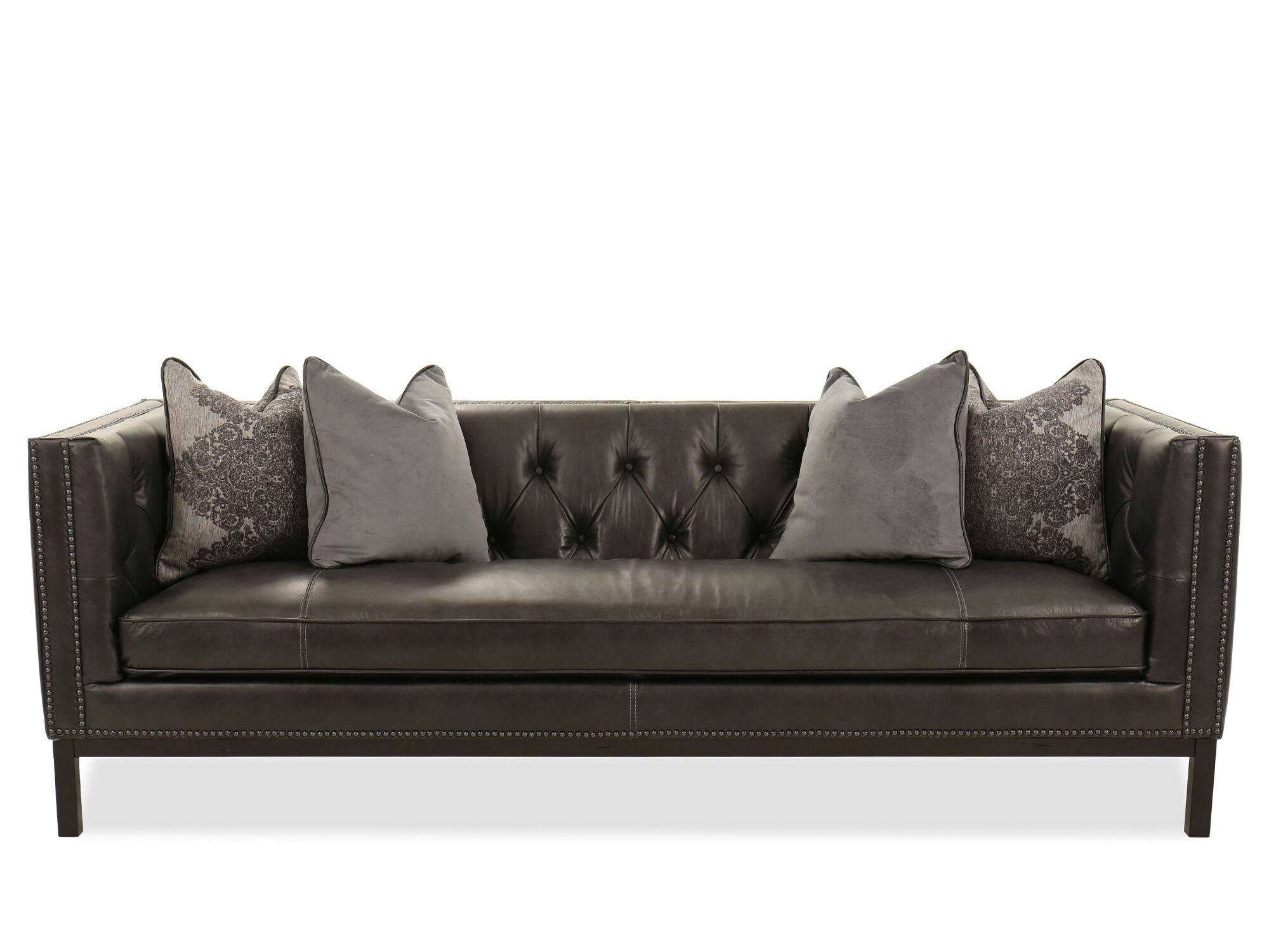 ... Nailhead Accented Leather Sofa In Slate ...