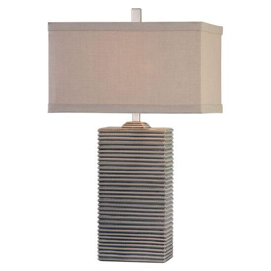 Ribbed Base Ceramic Lamp in Pale Blue