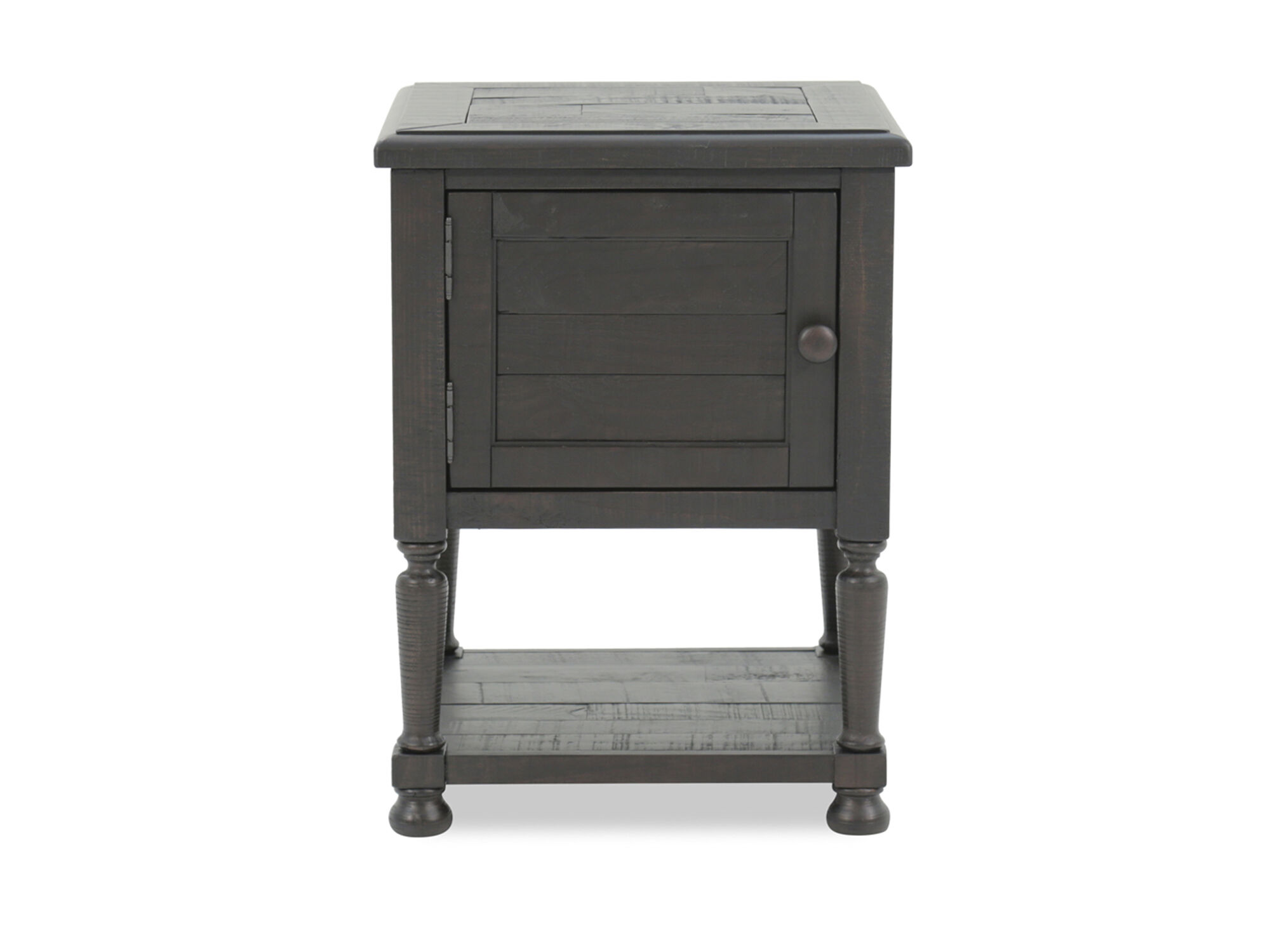 Distressed solid pine end table in charcoal mathis brothers furniture