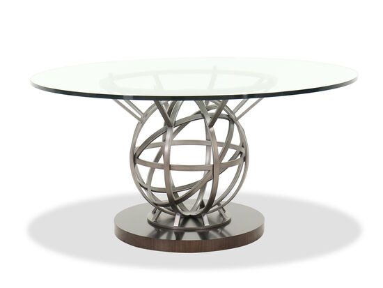 """Contemporary 60"""" Round Dining Table in Silver"""