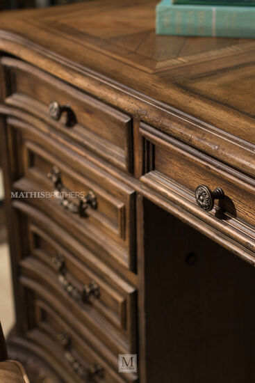 """74"""" Traditional Seven-Drawer Executive Desk in Brown"""