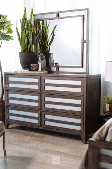 Modern Lattice Six-Drawer Dresser in Driftwood Grey