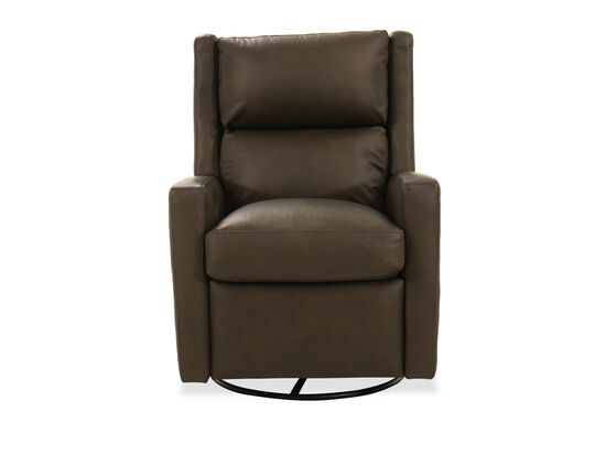 """Leather 30"""" Swivel Glider Recliner in Brown"""