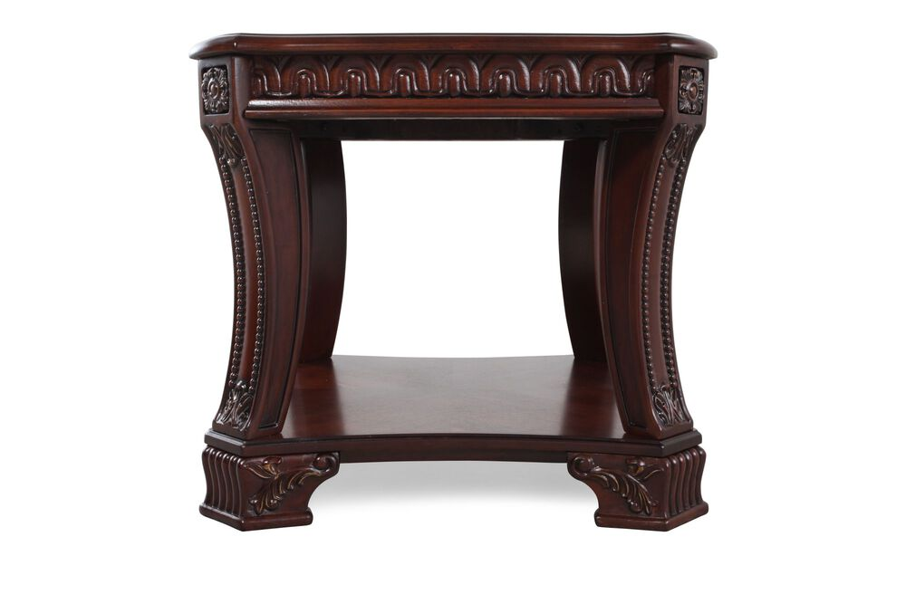 Square Traditional End Tablein Dark Cherry Stain