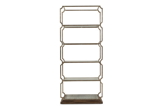 Glass-Shelved Transitional Etagere in Champagne