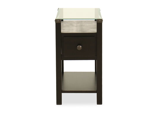 Contemporary Glass Top End Table in Almost Black