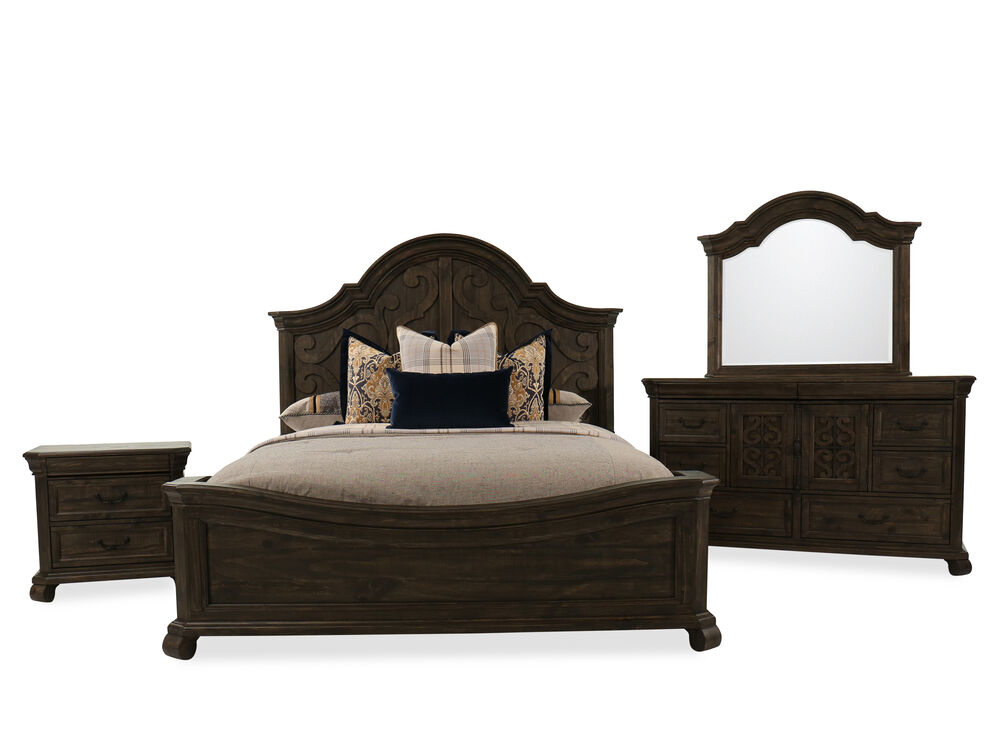 Four-Piece Contemporary Bedroom Set in Peppercorn | Mathis Brothers ...
