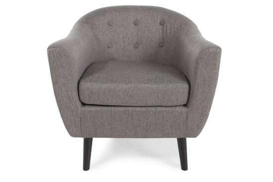 "Button-Tufted Mid-Century Modern 30"" Accent Chair in Gray"