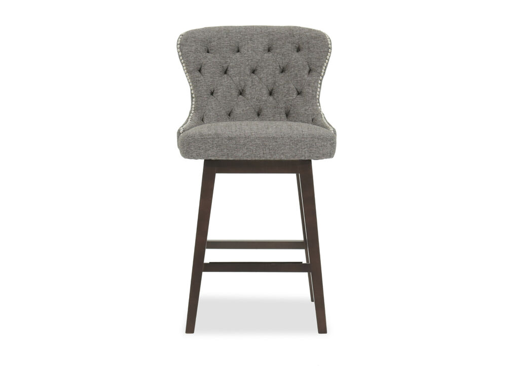 "Contemporary 42"" Tufted Bar Stool in Gray"