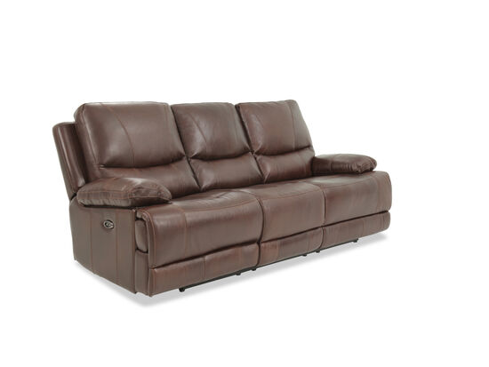 """Leather 89"""" Power Reclining Sofa in Brown"""