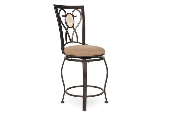 "Transitional 47"" Bar Stool in Brown"