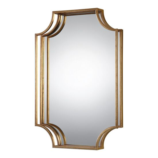 20'' Three-dimensional Frame Wall Mirror in Antiqued Gold Leaf