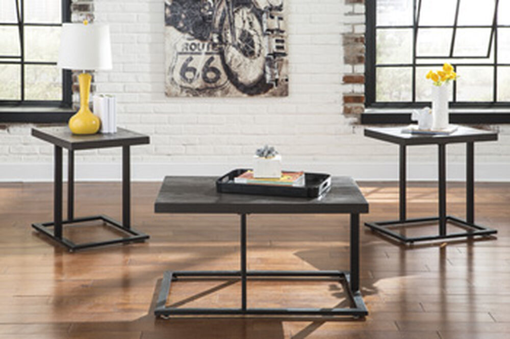 Three-Piece Contemporary Occasional Table Set in Silver