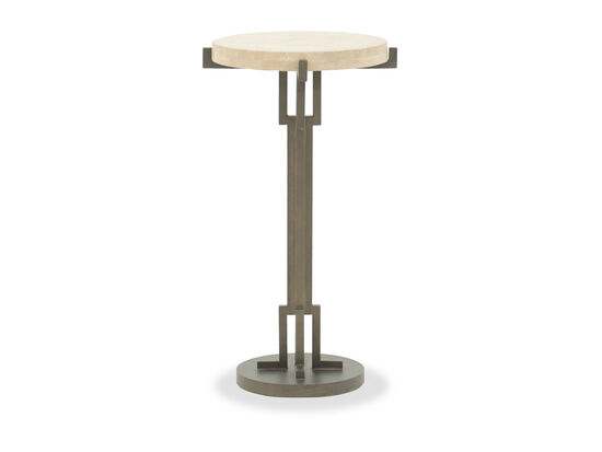 Contemporary Travertine-Inset Chairside Table in Horizon