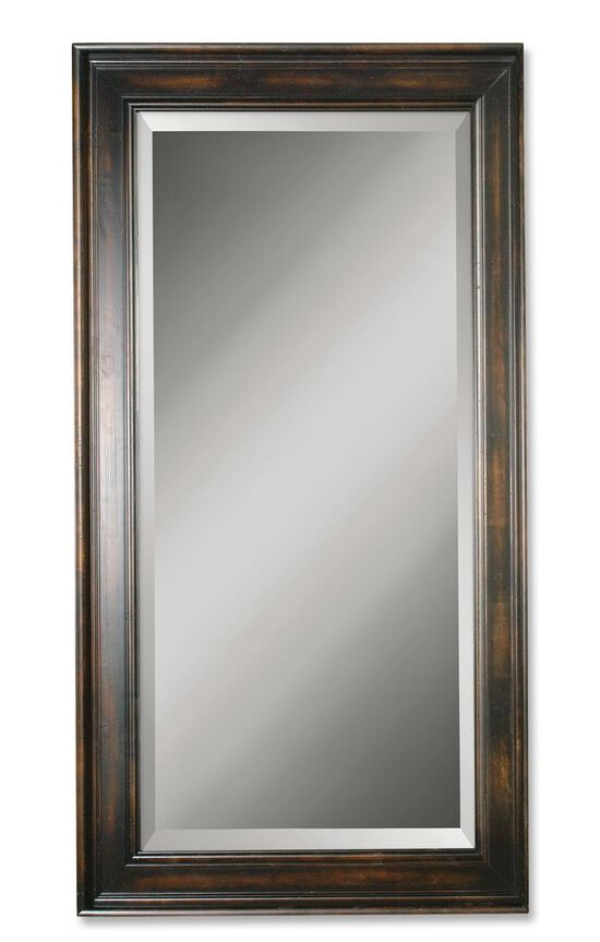 "70"" Rectangular Solid Wood Mirror in Distressed Black"
