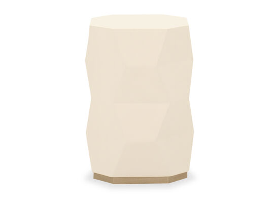 Contemporary End Table in Ivory