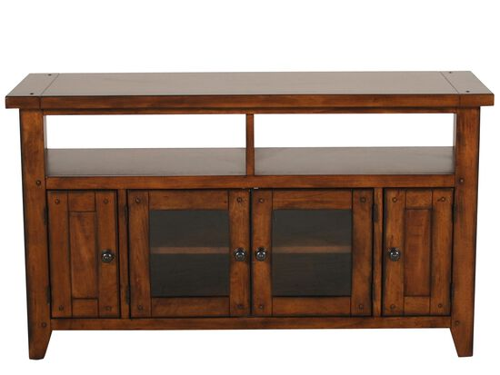 Two Glass Door Country Entertainment Console in Saddle Brown