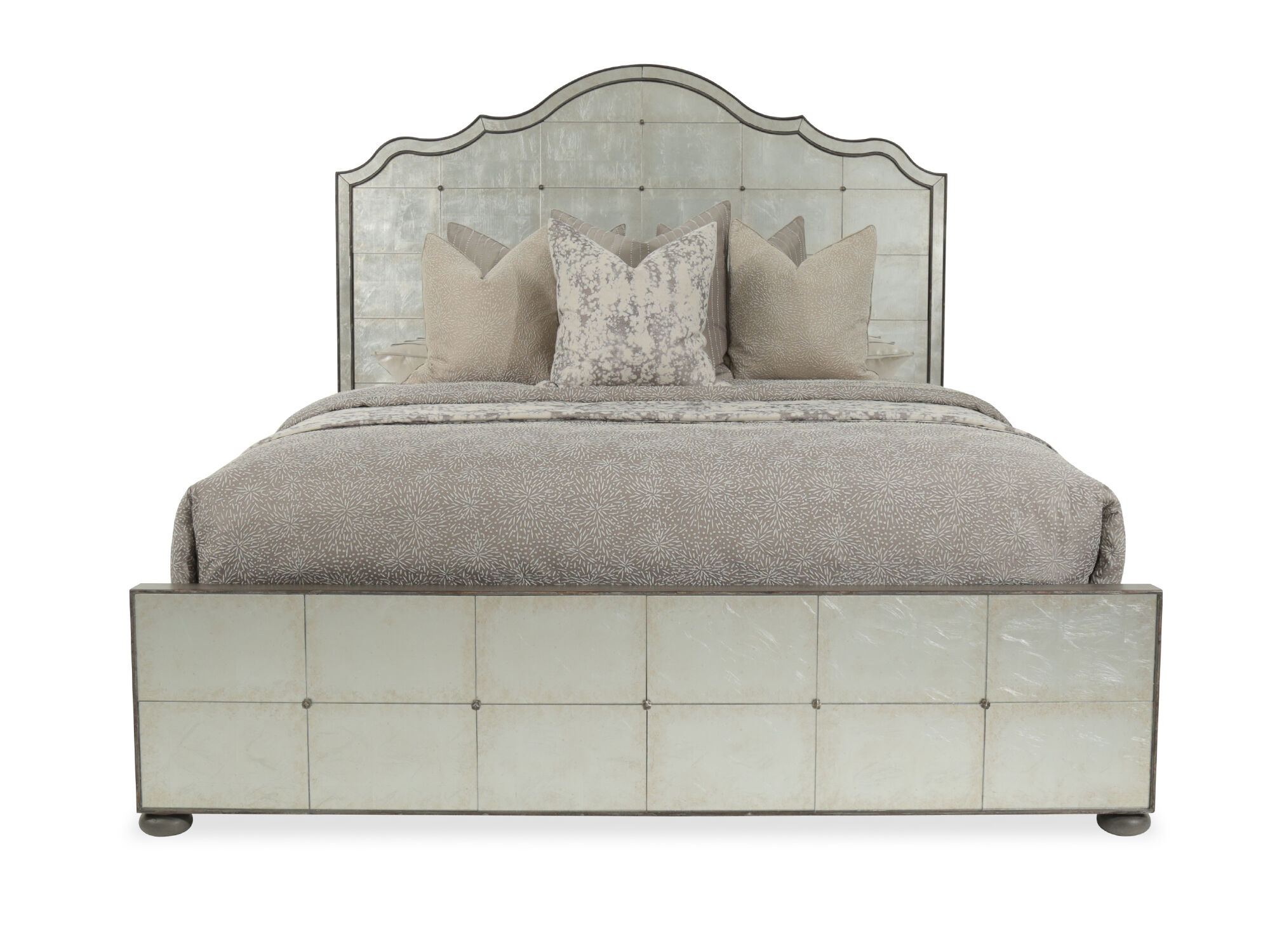 74 glam mirrored arch panel bed in silver mathis brothers furniture