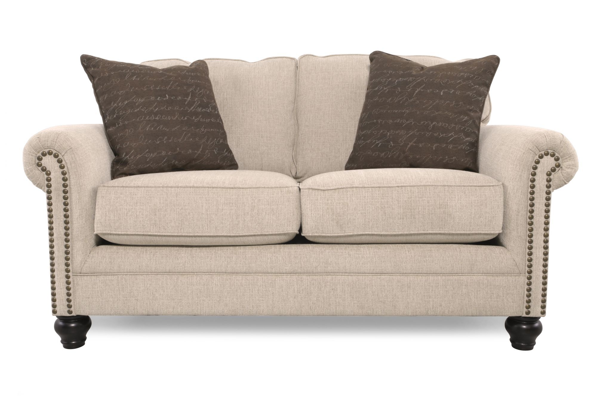 Images Nailhead Trimmed Casual 67u0026quot; Loveseat In Gray