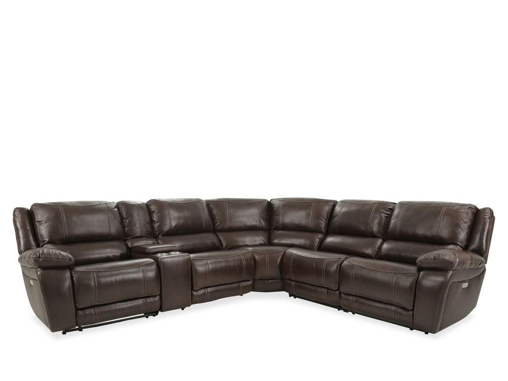 Leather Power Reclining Sectional In Brown Mathis