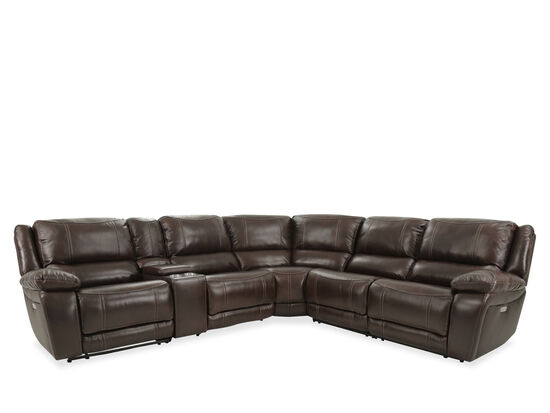Leather Power Reclining Sectional in Brown