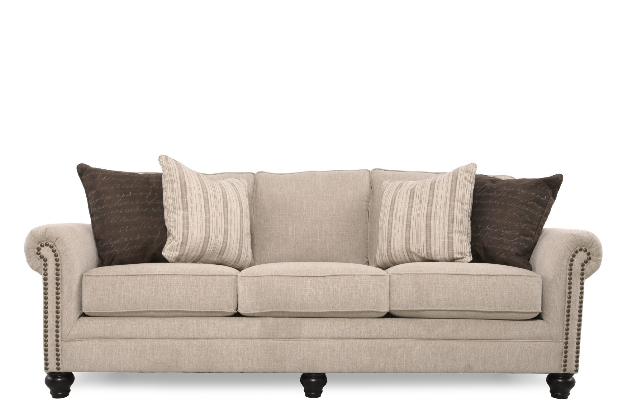 Superior Images Casual Nailhead Accented 90u0026quot; Sofa In Linen Casual  Nailhead Accented 90u0026quot; Sofa In Linen