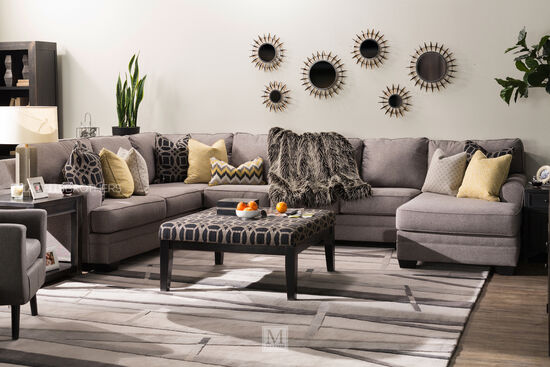 "Four-Piece Contemporary 155"" Sectional in Gray"