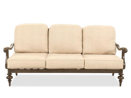 Scrolled Back Aluminum Three-Seat Sofa in Beige