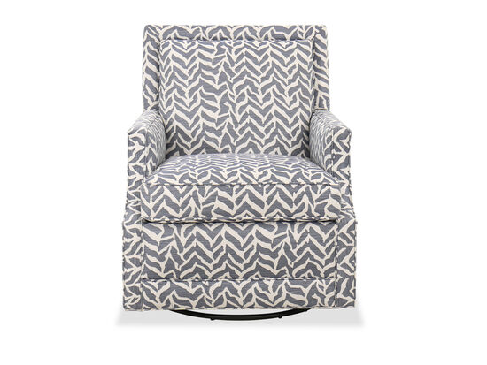 """Transitional Chevron-Patterned 29.5"""" Swivel Chair"""