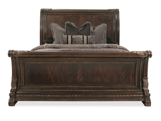 Traditional Rope Accented Sleigh Bed in Dark Brown
