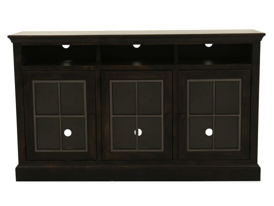 Paneled Three-Door Entertainment Center in Ghost Black