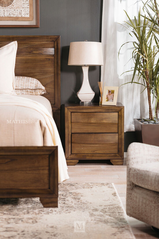 "26.5"" Contemporary Two-Drawer Nightstand in Brown"