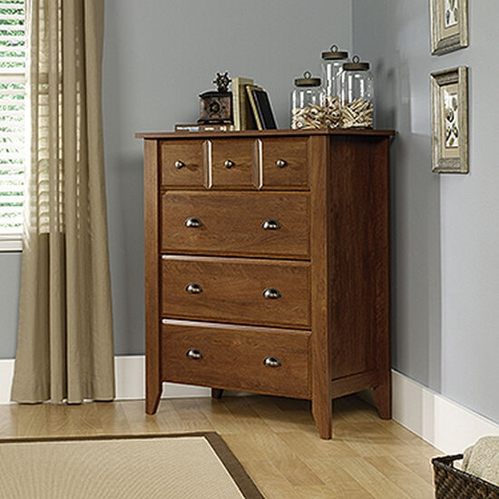 """43"""" Traditional Paneled Four-Drawer Chest in Oiled Oak"""