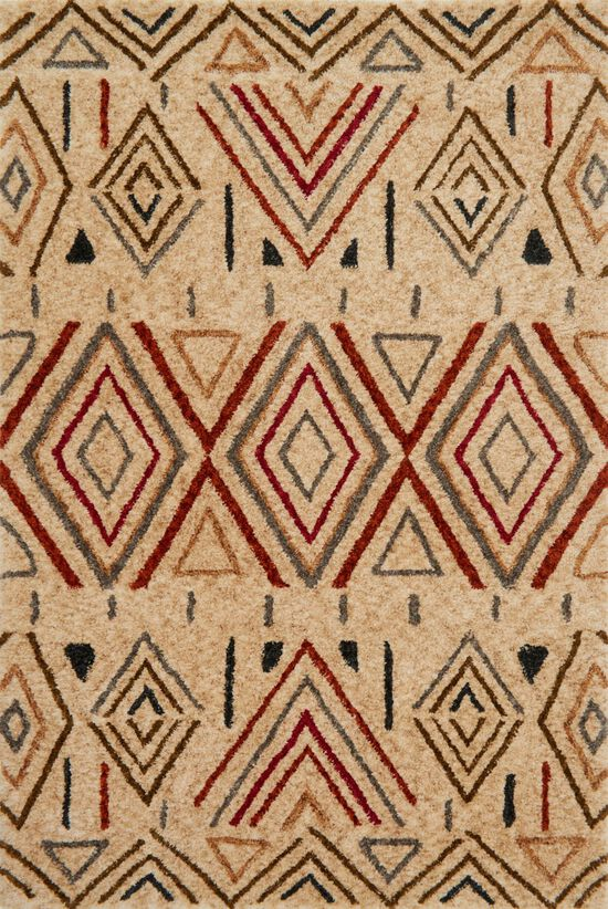 "Contemporary 3'-6""x5'-6"" Rug in Sand/Rust"