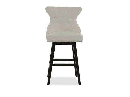 """Contemporary 44"""" Button Tufted Bar Stool in Beige"""