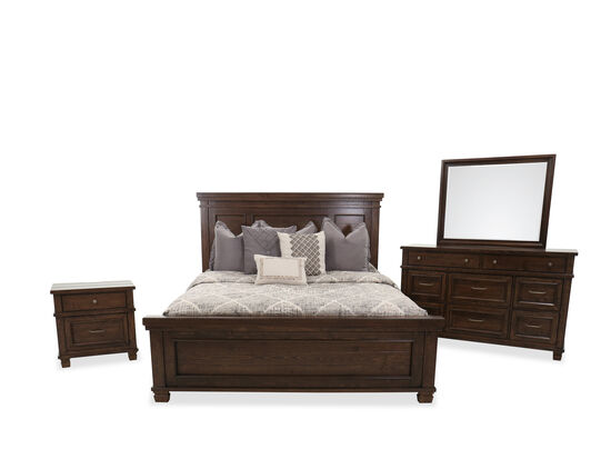Four-Piece Transitional King Bed Set in Brown