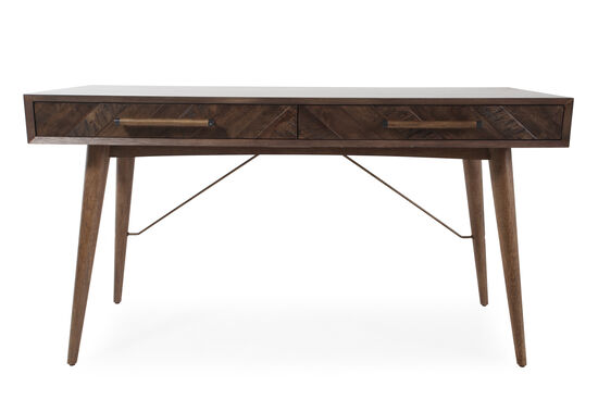 "56"" Mid-Century Modern Two-Drawer Writing Desk in Brown"