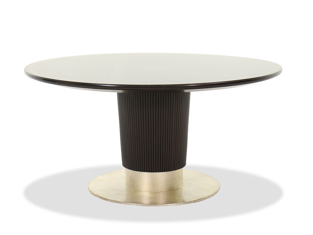 "Contemporary 60"" Round Dining Table in Brown"