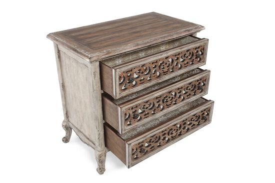 "33"" Contemporary Solid Wood Three-Drawer Fretwork Nightstand in Light Brown"