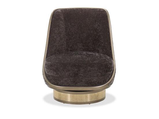 Barrel Base Modern 27.5'' Swivel Chair in Espresso